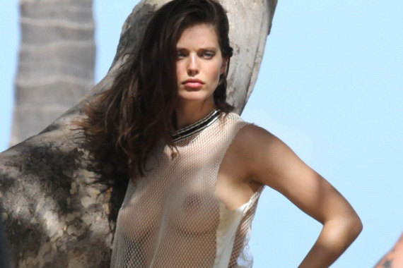 Emily Didonato in a sheer top