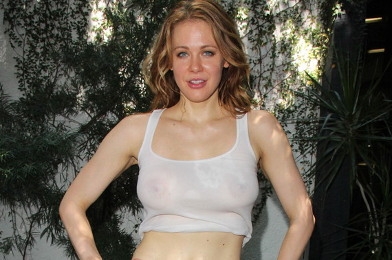 Maitland Ward braless, see-thru - work out photoshoot in West Hollywood