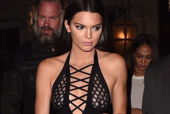 Kendall Jenner see-thru - The Reserve Restaurant in Paris