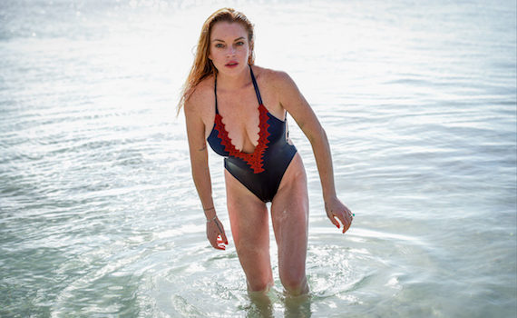 Lindsay Lohan - swimsuit photoshoot in Mauritius