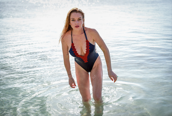 Lindsay Lohan - swimsuit photoshoot in Mauritius