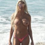 Angelique 'Frenchy' Morgan - topless on the beach in Malibu