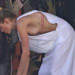 Amber Heard – nip-slip in her garage in L.A.