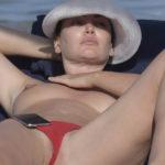 Bleona Qereti – topless & lip slip on the beach in Sardinia