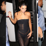 Kendall Jenner – wearing see-thru dress at 1OAK in NYC