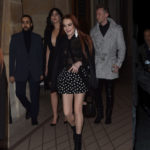 Linsay Lohan – see-through black blouse and a bra in Paris