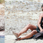 Kate Moss - swimsuit candids on the beach in Formentera